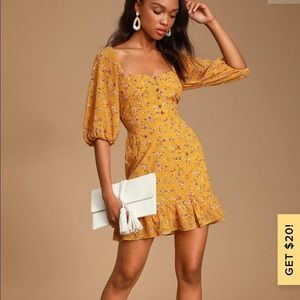 Lulus's Trixiebell Mustard Yellow Floral Dress
